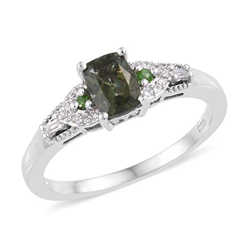 (Ring 925 Sterling Silver Platinum Plated Moldavite Chrome Diopside Gift Jewelry for Women Size 7 Ct 0.7)