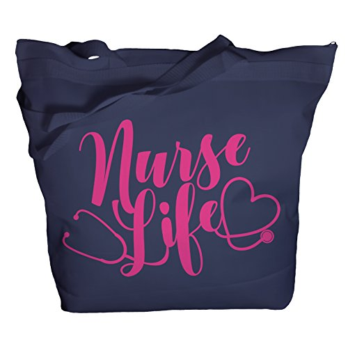 (Shirts By Sarah Tote Bag Nurse Life Stethoscope Heart Nursing Gift Idea Nurse Totes (Navy/Pink One)