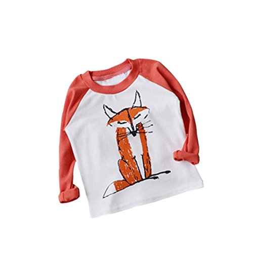 DaySeventh 2017 Baby Kids Boys Girls Long Sleeve Fox Cute T-Shirt Tops (5T, Orange) -