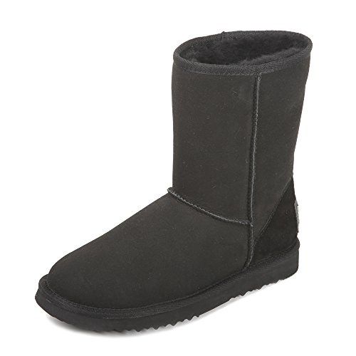 Ausland Womens Classique Peau De Mouton Demi-bottes De Neige Noir