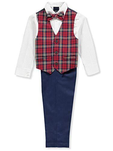 Izod boys 4-Piece Vest Set with Dress Shirt, Bow Tie, Pants, and Vest, Roasted Rouge, 6
