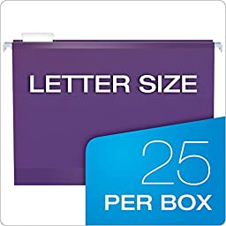 Pendaflex Reinforced Hanging Folders, Letter Size, Assorted Jewel-Tone Colors, 25 per Box (4152 1/5 ASST2)