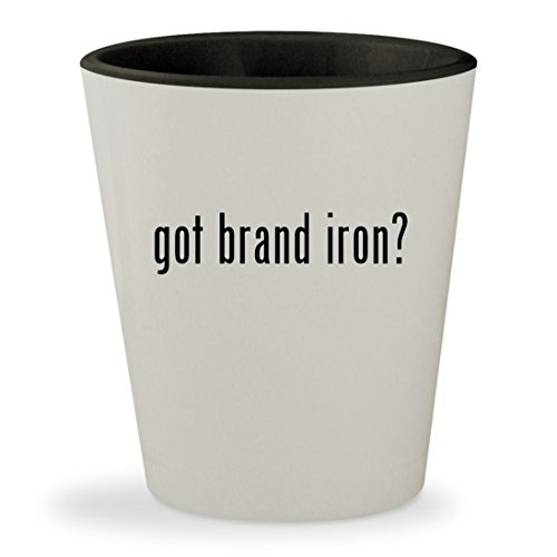 Texas State Branding Iron - got brand iron? - White Outer & Black Inner Ceramic 1.5oz Shot Glass