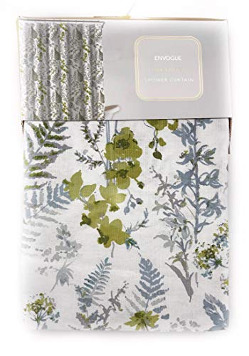 French Country Sage - ENVOGUE French Country Provincial Wildflower Print Cotton Shower Curtain Modern Rustic Soft Vintage Floral Bird Butterly Botanical Nature Muted Color (Botanical Greens)