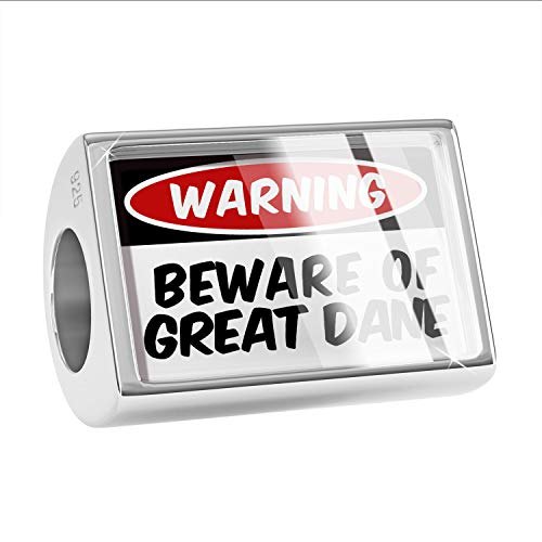 (NEONBLOND Charm Beware of The Great Dane Dog from Germany 925 Sterling Silver Bead)