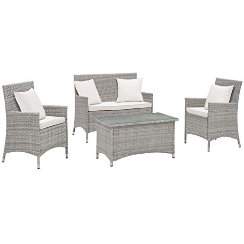 Modern Contemporary Urban Outdoor Patio Four PCS Lounge Chairs and Coffee Table Set, White, Rattan