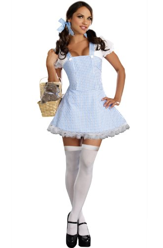 [Dreamgirl Gingham Dress, Light Blue, Large] (Gingham Womens Costumes)