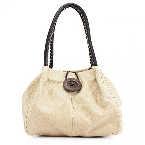 Designer WHITE Faux Quality Women's H25cm x Bag Women's Stunning Shoulder Handbag W40cm Flexible Button D15cm Wood CREAM CWRX140731 x LeahWard Leather 5ZxFwq