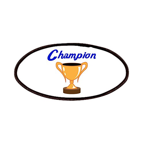 CafePress - TROPHY CUP CHAMPION - Patch, 4x2in Printed Novelty Applique Patch Loving Trophy Cup