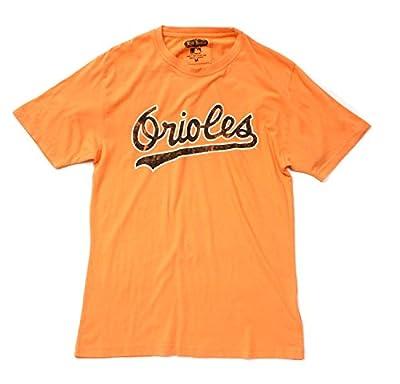 Red Jacket MLB Men's Brass Tacks Distressed Logo T-shirt (Large, Baltimore Orioles, Orange)