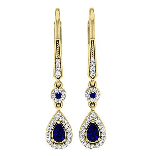 Dazzlingrock Collection 14K 5X3 MM Each Pear & Round Blue Sapphire & Diamond Ladies Halo Dangling Earrings, Yellow Gold ()