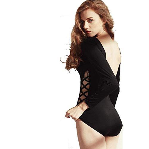 Manica E Nero A Con Nero colore Sportivo Dimensione Lunga Medium Donna Sexy Vestibilità Bagno Costume Conservatore Qiusa Da Awp6qgYpF