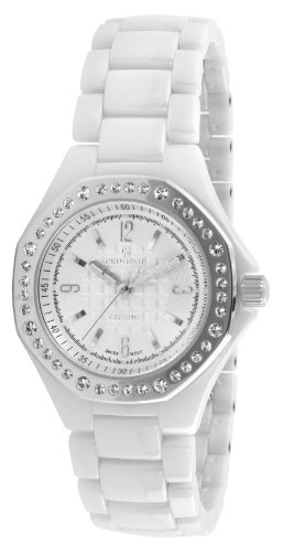 Peugeot Women's PS4896WS Swiss Ceramic Swarovski Crystal White Dial Watch