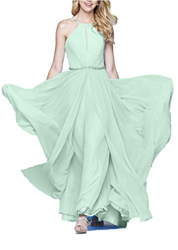 Promworld - Vestido - trapecio - Clásico - Sin mangas - para mujer verde menta