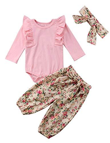 Baby Girl Clothes Toddler Romper Newborn Pink Ruffle Bodysuit Jumpsuit Floral Halen Pants 3PCs Outfit Set(0-3m/size70) ()