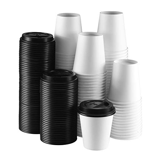 - NYHI 10 oz. White Paper Disposable Cups With Black Lids - Hot/Cold Beverage Drinking Cup for Water, Juice, Coffee or Tea - Ideal for Water Coolers, Party, or Coffee On the Go