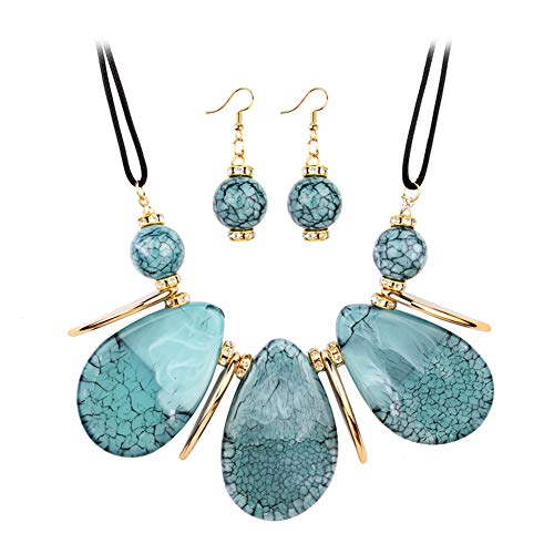 acelet Set Unique Geometric Cracked Gemstone Exquisite and Noble Hypoallergenic Jewelry Set for Women ()