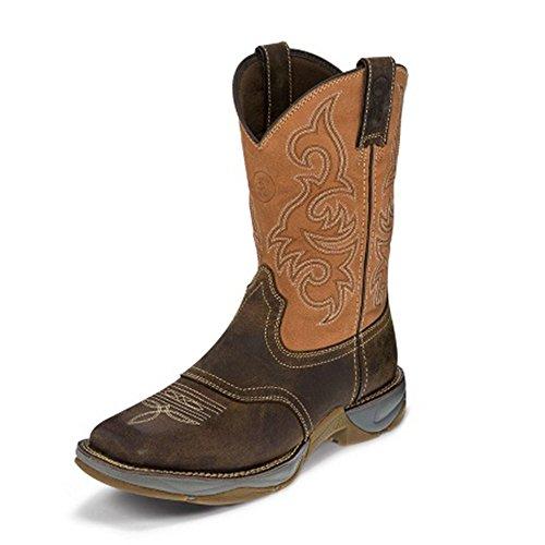 Tony Lama Mens Junction Dammiga 11 Höjd (rr3351) | Fot Dammig San Antone | Pådrags Västra Stövlar | Brunt Arbete Cowboy Läder Boot | Gjord I Usa