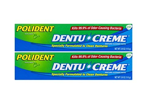 Polident Creme Dentu - Polident Dentu Creme Denture Cleanser Paste, Triple Mint, 3.9 Ounces (110g) - Pack of 2