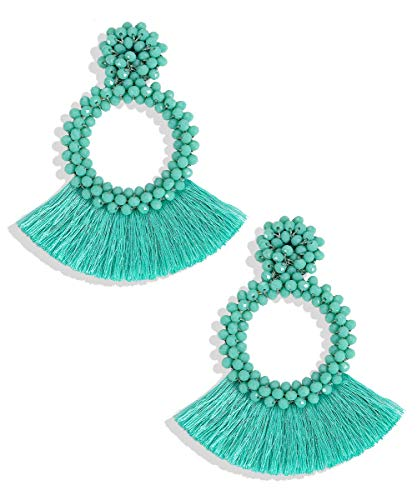 Wife Green - BEST LADY Tassel Earrings for Women - Statement Handmade Dangle Fringe Earrings for Women, Idea Gift for Sister, Wife and Friends (Green)