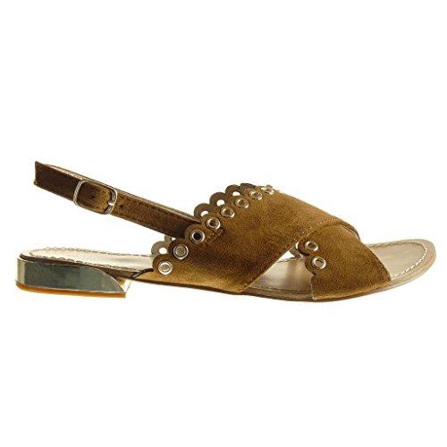 Angkorly - damen Schuhe Sandalen - Offen - Perforiert - Nieten - besetzt flache Ferse 1.5 CM - Camel