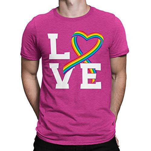SpiritForged Apparel Love Rainbow Ribbon Men's T-Shirt, Pink Large