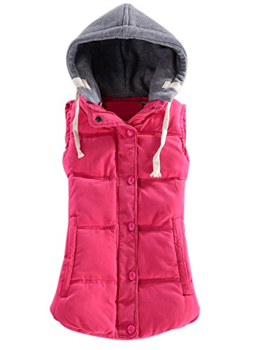 Yeokou Women's Slim Sleeveless Quilted Removable Hooded Winter Puffer Vest Coat Rose Red ()