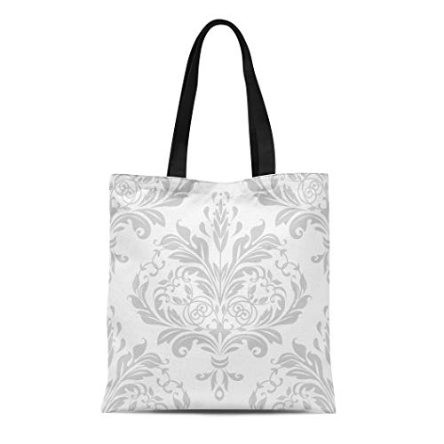 Semtomn Cotton Canvas Tote Bag Damask in the of Baroque Gray and White Pattern Reusable Shoulder Grocery Shopping Bags Handbag Printed