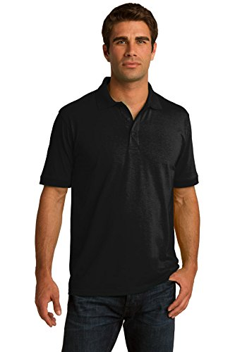 Port & Company Men's Tall 55 Ounce Jersey Knit Polo 4XLT Jet Black (Polo Jersey Dyed)