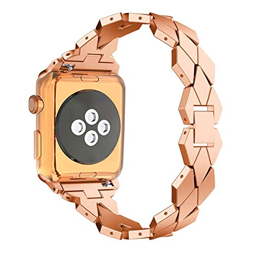 Maxjoy for Apple Watch Band, 38mm 40mm Women Stainless Steel Metal Replacement Wristband iWatch Bracelet Strap with Clasp for Apple Watch Series 4 Series 3 Series 2 Series 1 Sport Edition, Rose Gold