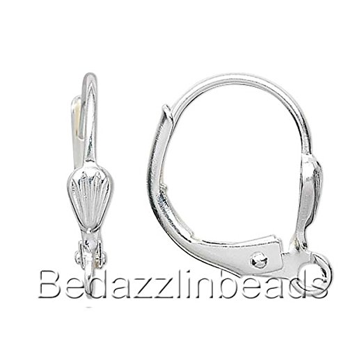 10 Silver Plated Leverback Earrings With Open Loop 14MM