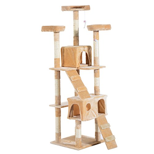 PawHut-Cat-Tree-Kitten-Kitty-Scratching-Scratcher-Post-Climbing-Tower-Activity-Center-House-Cream