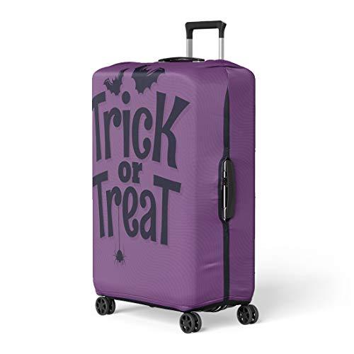 Pinbeam Luggage Cover Purple Doodle Trick Treat Halloween