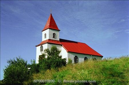 A church in the countryside in summer, Borgarfjordur, Iceland 30x40 photo reprint by PickYourImage