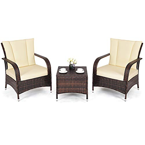 Tangkula 3 Piece Patio Furniture Set Wicker Rattan Outdoor Patio Conversation Set with 2 Cushioned Chairs & End Table Backyard Garden Lawn Chat Set Chill Time Modern Outdoor Furniture (Beige) (Best Price Garden Furniture)