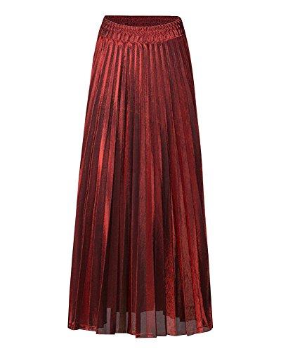 Femmes Jupe Pliss Rtro Jupe Longue Haute Taille Lustre Mtallique Briller Grand Pendule A-Line t Plage Chic Style Classique Grande Taille Jupes Rouge