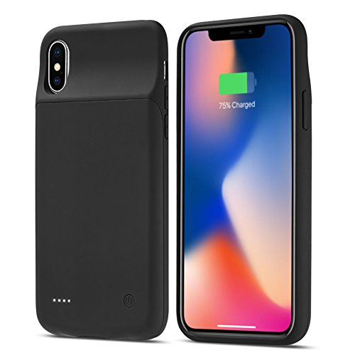 iPhone X Battery Case, Allable 5000mAh Slim Protective External Battery Backup Charger Case, Rechargeable Extended Power Bank Charging Case for 5.8inch iPhone X/10, Support Wired Headphones, Black by Allable