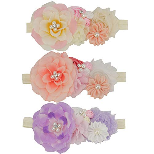 Baby Girls Floral Headbands Big Flowers Crown Hair Bow Elastic Bands Newborn Infant Toddlers Kids