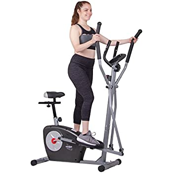 Elliptical Trainer and Exercise Bike with Seat and Heart Rate Pulse Sensors Dual Trainer BRM3635 Cardio Upper and Lower Full Body Workout Multi Trainer by ...