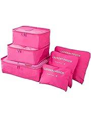 منظم الأمتعة السفر - حقيبة تخزين كلوث للسفر - حقيبة شبكية للسفر - حقيبة غسيل - منظم التعبئة السفر - حزمة فرز الملابس - حقيبة أحذية السفر 6 قطع