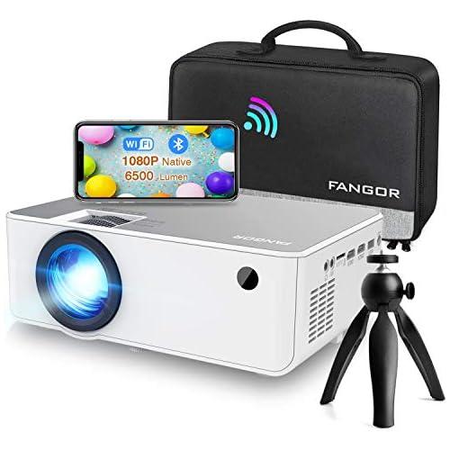 chollos oferta descuentos barato Proyector WiFi FANGOR 1080P Nativo HD Proyector Vídeo 6500 Lumens portátil Bluetooth Proyector Cine en casa Proyector Compatible con TV Stick HDMI VGA USB Laptop iPhone teléfono Android