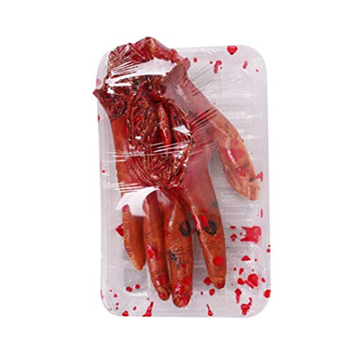 Livoty Halloween Fake Heart Brain Organ Haunted Set Meal Home Party Decorate Blood Horror Props Trick -