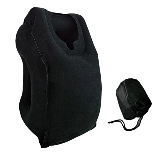 Zlimio Portable PVC Flocking Soft Travel Head Neck Rest Support Cushion Pillow, Fit Travel Pillow, Plane Pillow, Train, Bus, Office, Travel Pillow