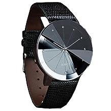 ODGear Luxury Quartz Sport Military Stainless Steel Dial Leather Band Wrist Watch Men