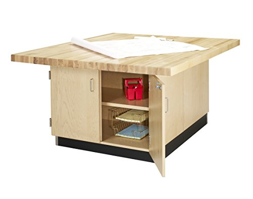 Diversified Woodcrafts WW33-0V 4-Station Workbench Without Vises, Double-Door and 6-Drawer Cabinet, 31.25
