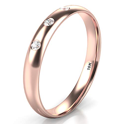 Sz 6.0 Solid 10K Rose Gold 3 Diamond 3MM Dome Wedding Anniversary Band Ring ()