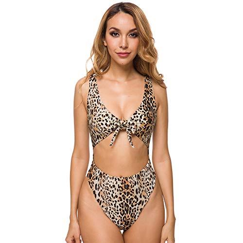 SARA SWIM Women's Tie Front Cut Out One Piece Swimsuit Beachwear High Leg Bottom (S, Leopard)