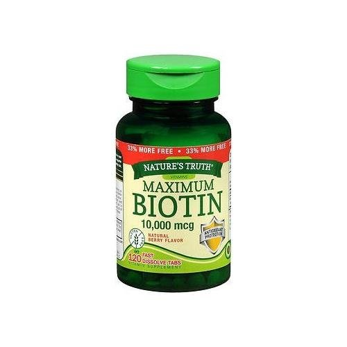 Nature's Truth Maximum Biotin 10,000 mg Fast Dissolve Tabs Berry - 120 ct - Buy Packs and Save (Pack of 5) by PIPING ROCK HEALTH PRODUC