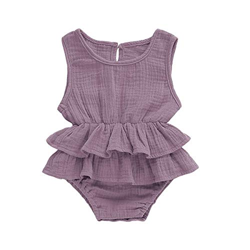 FUTERLY Newborn Toddler Baby Girl Romper Bodysuits Cotton Ruffled Sleeveless One-Piece Romper Jumpsuit Outfits Clothes(18-24Monthes 100) Purple