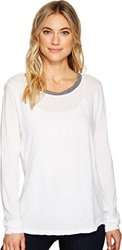 Michael Stars Women's Long Sleeve Crew Neck Ringer Tee, White, One (Star Ringer T-shirt)